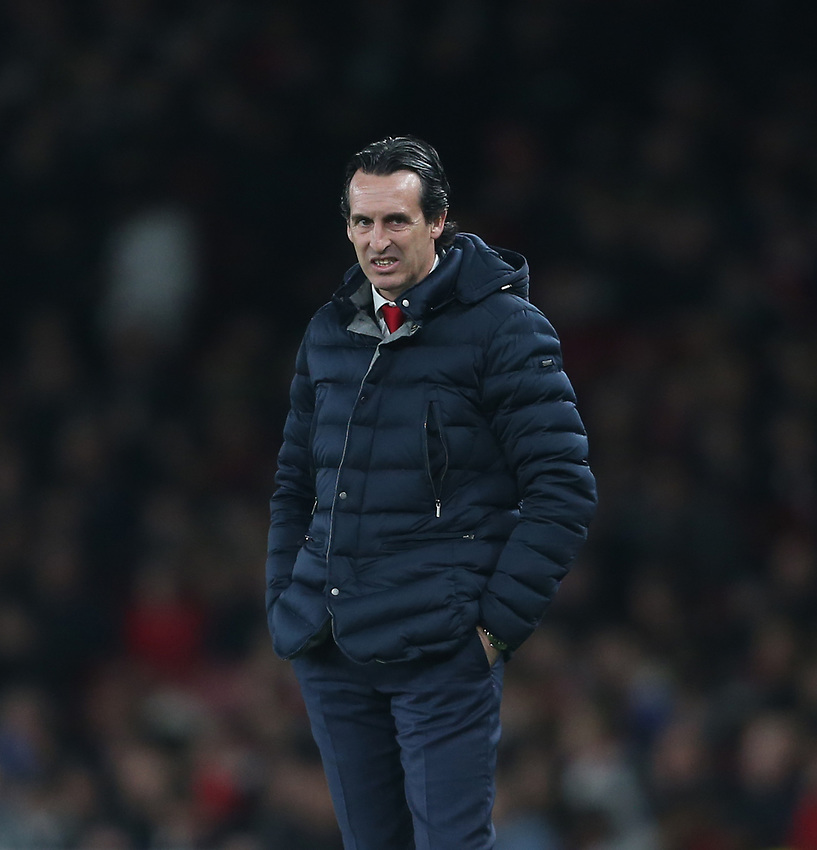 Arsenal manager Unai Emery <br /> <br /> Photographer Rob Newell/CameraSport<br /> <br /> UEFA Europa League First Leg - Arsenal v Napoli - Thursday 11th April 2019 - The Emirates - London<br />  <br /> World Copyright © 2018 CameraSport. All rights reserved. 43 Linden Ave. Countesthorpe. Leicester. England. LE8 5PG - Tel: +44 (0) 116 277 4147 - admin@camerasport.com - www.camerasport.com