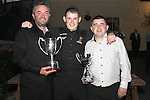 Karl O'Donoghue with Gerry Smyth and Peter O'Donoghue at the Party for the 2010 U21 World Pool Champion in Alverno House, Laytown....Photo NEWSFILE/Jenny Matthews.(Photo credit should read Jenny Matthews/NEWSFILE)....This Picture has been sent you under the condtions enclosed by:.Newsfile Ltd..The Studio,.Millmount Abbey,.Drogheda,.Co Meath..Ireland..Tel: +353(0)41-9871240.Fax: +353(0)41-9871260.GSM: +353(0)86-2500958.email: pictures@newsfile.ie.www.newsfile.ie.FTP: 193.120.102.198.