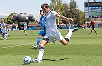 Gareth Bale kicks the ball. San Jose Earthquakes vs Tottenham Hotspur at Buck Shaw Stadium in Santa Clara, California on July 17th, 2010.