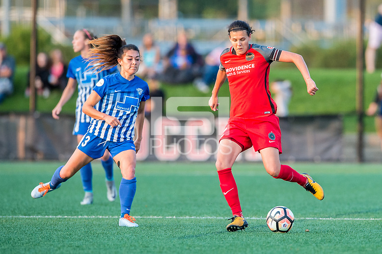 Boston, MA - Sunday September 10, 2017: Brooke Elby and Christine Sinclair during a regular season National Women's Soccer League (NWSL) match between the Boston Breakers and Portland Thorns FC at Jordan Field.