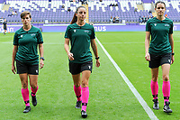 20190813 - ANDERLECHT, BELGIUM : referees Jelena Cvetkovic 5SRB) and assistant referees Ivana Jovanovic (SRB) and Stasa Spur (SVN) pictured during the female soccer game between the Belgian RSCA Ladies – Royal Sporting Club Anderlecht Dames and the Northern Irish Linfield ladies FC , the third and final game for both teams in the Uefa Womens Champions League Qualifying round in group 8 , Tuesday 13 th August 2019 at the Lotto Park Stadium in Anderlecht , Belgium  .  PHOTO SPORTPIX.BE | STIJN AUDOOREN