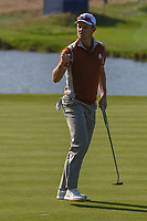 Justin Rose (Team Europe) sinks his putt on 10 during Saturday's foursomes of the 2018 Ryder Cup, Le Golf National, Guyancourt, France. 9/29/2018.<br /> Picture: Golffile | Ken Murray<br /> <br /> <br /> All photo usage must carry mandatory copyright credit (© Golffile | Ken Murray)