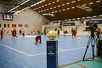 20200201 Herentals , BELGIUM :  Illustrative picture of the warm up with the futsal ball in the foreground, before a futsal indoor soccer game between the Belgian Futsal Devils of Belgium and Montenegro on the third and last matchday in group B of the UEFA Futsal Euro 2022 Qualifying or preliminary round , Saturday 1st February 2020 at the Sport Vlaanderen sports hall in Herentals , Belgium . PHOTO SPORTPIX.BE | Sevil Oktem