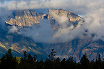 Storm clouds in morning over mountains in the Teton Range, Grand Teton National Park, Wyoming