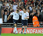 Steven Gerrard of England celebrates his goal with John Terry during the Friendly International match at Wembley Stadium, London. Picture date 28th May 2008. Picture credit should read: Simon Bellis/Sportimage