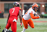 College Park, MD - October 27, 2018: Illinois Fighting Illini wide receiver Trenard Davis (15) runs the ball during the game between Illinois and Maryland at  Capital One Field at Maryland Stadium in College Park, MD.  (Photo by Elliott Brown/Media Images International)