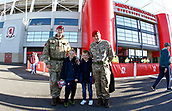 5th November 2017, Riverside Stadium, Middlesbrough, England; EFL Championship football, Middlesbrough versus Sunderland; Members of the Royal Military Police with their Sunderland supporting sons outside the Riverside Stadium before the game
