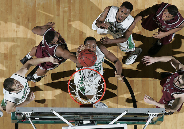 Denton, TX - JANUARY 26: Roger Franklin #32 of the North Texas Mean Green in action against the Arkansas Little Rock Trojans at the UNT Coliseum in Denton on January 26, 2013 in Denton, Texas. (Photo by Rick Yeatts)