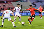 Hwang Inbeom of South Korea (R) fights for the ball with Komail Hasan Alaswad of Bahrain (C) during the AFC Asian Cup UAE 2019 Round of 16 match between South Korea (KOR) and Bahrain (BHR) at Rashid Stadium on 22 January 2019 in Dubai, United Arab Emirates. Photo by Marcio Rodrigo Machado / Power Sport Images