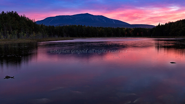 A spectacular dawn over Mount Katahdin, Baxter State Park, Maine.