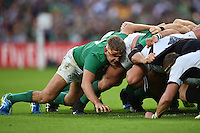 Chris Henry of Ireland in action at a scrum. Rugby World Cup Pool D match between Ireland and Romania on September 27, 2015 at Wembley Stadium in London, England. Photo by: Patrick Khachfe / Onside Images