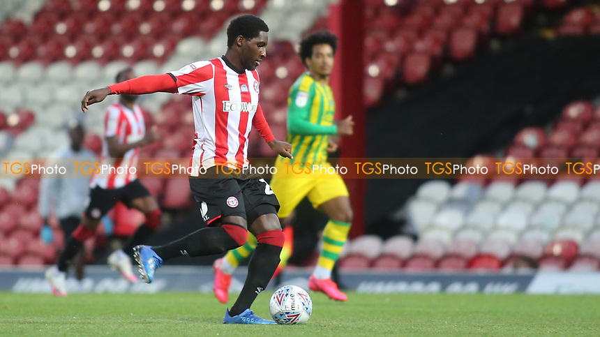 Shandon Baptiste of Brentford in action during Brentford vs West Bromwich Albion, Sky Bet EFL Championship Football at Griffin Park on 26th June 2020
