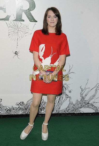 Charlotte Ritchie.A special screening of 'Stoker', Curzon Soho, London, England..17th February 2013.full length red white dress lobster animal print ankle strap shoes blue clutch bag.CAP/CAN.©Can Nguyen/Capital Pictures.