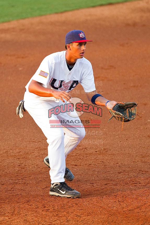 Third baseman Drew Ward #56 of the USA 18u National Team on defense against the USA Baseball Collegiate National Team at the USA Baseball National Training Center on July 2, 2011 in Cary, North Carolina.  The College National Team defeated the 18u team 8-1.  Brian Westerholt / Four Seam Images
