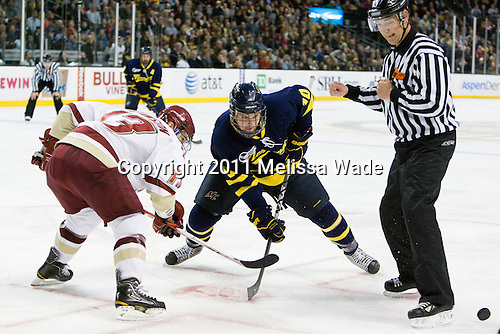 Cam Atkinson (BC - 13), Bobby Kramer (Merrimack - 10), Chris Aughe - The Boston College Eagles defeated the Merrimack College Warriors 5-3 to win the Hockey East championship for the tenth time on Saturday, March 19, 2011, at TD Garden in Boston, Massachusetts.