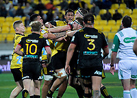 A scuffle breaks out during the Super Rugby quarterfinal match between the Hurricanes and Chiefs at Westpac Stadium in Wellington, New Zealand on Friday, 20 July 2018. Photo: Dave Lintott / lintottphoto.co.nz