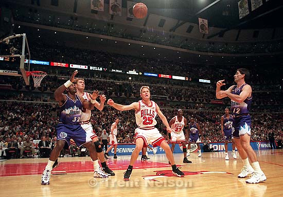 John Stockton throws the ball in to Karl Malone at Jazz vs. Bulls, game 3 of the NBA Finals. Bulls won<br />