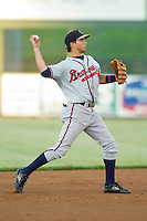 Rome Braves shortstop Jose Peraza (4) makes a throw to first base against the Kannapolis Intimidators at CMC-Northeast Stadium on August 24, 2013 in Kannapolis, North Carolina.  The Intimidators defeated the Braves 6-1.  (Brian Westerholt/Four Seam Images)