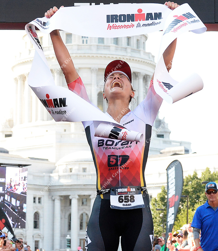 University of Wisconsin graduate, Dani Fischer, wins the women's 2017 IRONMAN Wisconsin with a time of 9 hours, 57 minutes, and 41 seconds on Sunday, September 10 in Madison