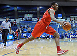 February 4, 2015 - Colorado Springs, Colorado, U.S. -    New Mexico guard, Arthur Edwards #5, drives the baseline during a Mountain West Conference match-up between the New Mexico Lobos and the Air Force Academy Falcons at Clune Arena, U.S. Air Force Academy, Colorado Springs, Colorado.  Air Force upsets New Mexico 53-49.