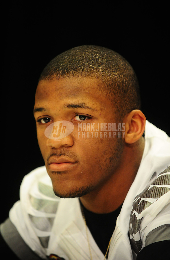Jan. 7, 2011; Scottsdale, AZ, USA; Oregon Ducks running back LaMichael James during media day at the JW Marriott for the 2011 BCS National Championship game against the Auburn Tigers to be played on January 10, 2011. Mandatory Credit: Mark J. Rebilas-