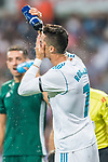 Cristiano Ronaldo of Real Madrid washes his face during the La Liga 2017-18 match between Real Madrid and Real Betis at Estadio Santiago Bernabeu on 20 September 2017 in Madrid, Spain. Photo by Diego Gonzalez / Power Sport Images