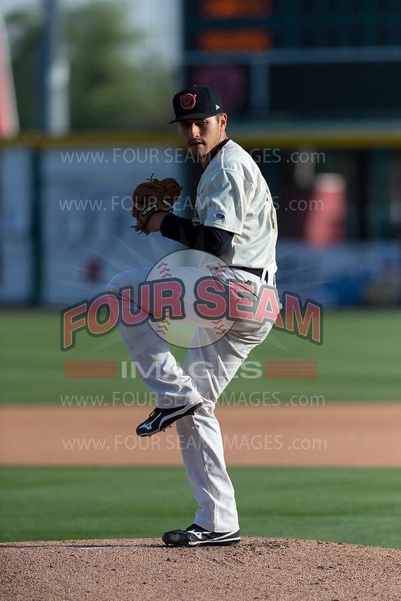 Visalia Rawhide starting pitcher Jeff Bain (20) during a California League game against the Rancho Cucamonga Quakes on April 9, 2019 in Visalia, California. Visalia defeated Rancho Cucamonga 8-5. (Zachary Lucy/Four Seam Images)