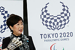 Tokyo Governor Yuriko Koike answers questions from journalists after attending the Grand Opening Ceremony of Ariake Arena on February 2, 2020, Tokyo, Japan. The new sporting and cultural centre will host the volleyball and wheelchair basketball competitions during the Tokyo 2020 Olympic Games. (Photo by Rodrigo Reyes Marin/AFLO)