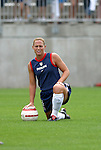 1 August 2004: Christie Rampone stretches before the game. The United States defeated China 3-1 at Rentschler Field in East Hartford, CT in an women's international friendly soccer game..