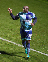Adebayo Akinfenwa of Wycombe Wanderers celebrates his goal during the The Checkatrade Trophy match between Wycombe Wanderers and West Ham United U21 at Adams Park, High Wycombe, England on 4 October 2016. Photo by Andy Rowland.