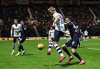 Preston North End's Jayden Stockley competing with Derby County's Scott Malone  <br /> <br /> Photographer Andrew Kearns/CameraSport<br /> <br /> The EFL Sky Bet Championship - Preston North End v Derby County - Friday 1st February 2019 - Deepdale Stadium - Preston<br /> <br /> World Copyright © 2019 CameraSport. All rights reserved. 43 Linden Ave. Countesthorpe. Leicester. England. LE8 5PG - Tel: +44 (0) 116 277 4147 - admin@camerasport.com - www.camerasport.com