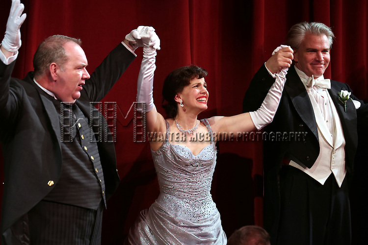 Blake Hammond, Anna Chlumsky and Douglas Sills during the Broadway Opening Night Performance Curtain Call for 'Living on Love' at The Longacre Theatre on April 20, 2015 in New York City.