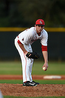 Ball State Cardinals pitcher Trevor Simon (23) during a game against the Maine Black Bears on March 3, 2015 at North Charlotte Regional Park in Port Charlotte, Florida.  Ball State defeated Maine 8-7.  (Mike Janes/Four Seam Images)