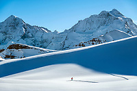 Ski touring between shadows in the Jungfrau Region, above Lauterbrunnen Valley, with views of the Mönch and Jungfrau, Switzerland.