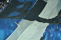 BOGOTA - COLOMBIA -28 -05-2015: Seguidor de Millonarios durante el encuentro de ida de semifinales entre Millonarios y Deportivo Cali por la Liga Águila I 2015 jugado en el estadio Nemesio Camacho El Campín de la ciudad de Bogotá./ Supporter of Millonarios during the semifinal first leg match between Millonarios and Deportivo Cali of the Aguila League I 2015 played at Nemesio Camacho El Campin stadium in Bogotá city. Photo: VizzorImage / Gabriel Aponte / Staff.