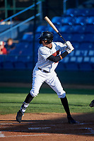 Great Falls Voyagers Anderson Comas (22) at bat during a Pioneer League game against the Missoula Osprey at Centene Stadium at Legion Park on August 19, 2019 in Great Falls, Montana. Missoula defeated Great Falls 4-1 in the first game of a doubleheader. Games were moved from Missoula after Ogren Park at Allegiance Field, the Osprey's home field, was ruled unplayable. (Zachary Lucy/Four Seam Images)