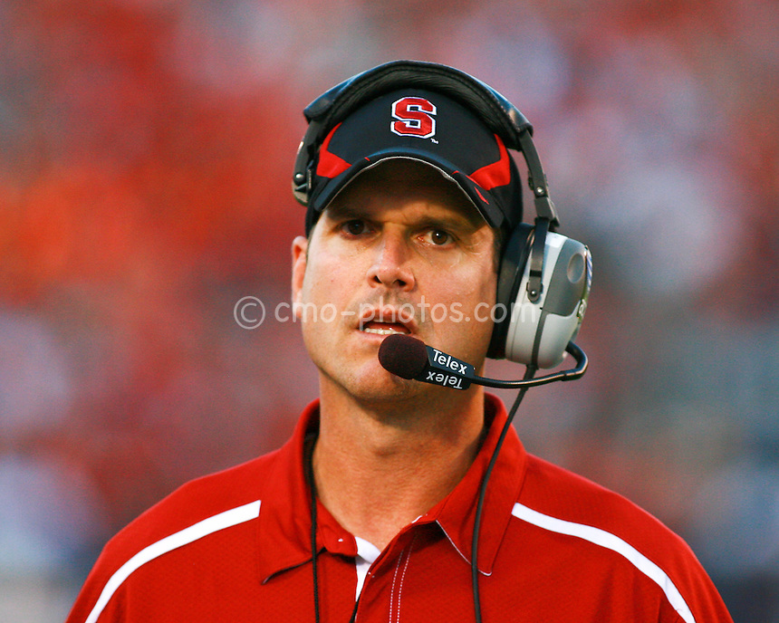 Oct 17, 2009; Tucson, AZ, USA; Stanford Cardinal head coach Jim Harbaugh during the 2nd quarter of a game against the Arizona Wildcats at Arizona Stadium.