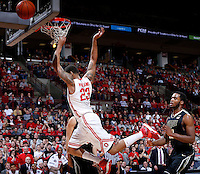 Ohio State Buckeyes center Amir Williams (23) is fouled as he leaps to the basket during the second half of the NCAA men's basketball game between the Ohio State Buckeyes and the Purdue Boilermakers at Value City Arena in Columbus, Ohio, on Saturday, Feb. 8, 2014. The Buckeyes defeated the Boilermakers, 67-49. (Columbus Dispatch/Sam Greene)