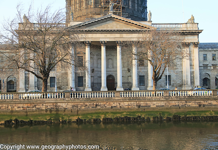 Classical frontage of Four Courts building, Inns Quay, Dublin, Ireland, Republic of Ireland completed 1802