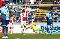 Goalkeeper Jamal Blackman of Wycombe Wanderers (on loan from Chelsea) saves the spot kick from Billy Waters of Cheltenham Town during the Sky Bet League 2 match between Wycombe Wanderers and Cheltenham Town at Adams Park, High Wycombe, England on the 8th April 2017. Photo by Liam McAvoy.