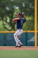 GCL Braves Vaughn Grissom (12) throws to first base during a Gulf Coast League game against the GCL Pirates on July 30, 2019 at Pirate City in Bradenton, Florida.  GCL Braves defeated the GCL Pirates 10-4.  (Mike Janes/Four Seam Images)