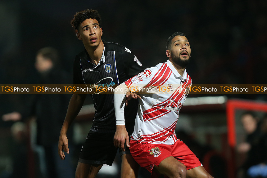 Jobi McAnuff of Stevenage and Kurtis Guthrie of Colchester United during Stevenage vs Colchester United, Sky Bet EFL League 2 Football at the Lamex Stadium on 31st December 2016