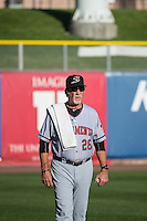 Sacramento River Cats pitching coach Dwight Bernard (28) before the game against the Salt Lake Bees in Pacific Coast League action at Smith's Ballpark on April 20, 2015 in Salt Lake City, Utah.  (Stephen Smith/Four Seam Images)