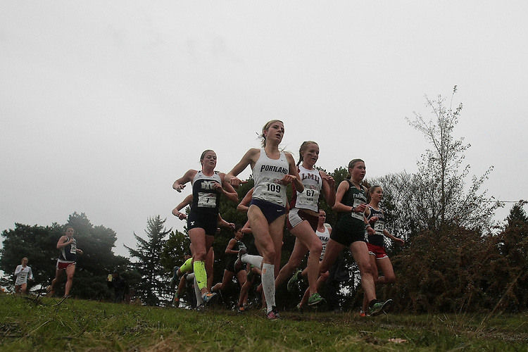 October 27, 2012; Portland, OR, USA; BYU Cougars runner Natalie Shields (7), Portland Pilots runner Laura Hottenrott-Freitag (109), Loyola Marymount Lions runner Sheree Shea (67), San Francisco Dons runner Elena Burkard (163), Gonzaga Bulldogs runner Lindsey Drake (32) during the WCC Cross Country Championships at Fernhill Park.
