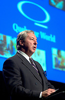 April 3rd 2002, Montreal, Quebec, Canada<br /> <br /> Charles G. Cavell President and Chief Executive Officer, Quebecor World Inc. adress the shareholders at Quebecor World annual meeting, April 3r 2002 in Montreal, Canada.<br /> <br /> Quebecor world operate 160 printing plants in 18 countries and his the larges global printing company in the world.<br />  <br />   <br /> Mandatory Credit: Photo by Pierre Roussel- Images Distribution. (&copy;) Copyright 2002 by Pierre Roussel <br /> ON SPEC<br /> NOTE l Nikon D-1 jpeg opened with Qimage icc profile, saved in Adobe 1998 RGB.