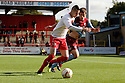 Marcus Haber of Stevenage takes on Niall Canavan of Scunthorpe.  Stevenage v Scunthorpe United - npower League 1 -  Lamex Stadium, Stevenage - 6th October, 2012. © Kevin Coleman 2012