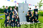 "To Mark the 5th birthday of O'Brennan NS Kielduff new Building the unveiling"" stonework that was commissioned under the Per Cent for Art Scheme.  was created by  Billy Leen pictured Kerry Rose, Breda O'Mahony and Students"