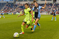 Chicago, IL - Sunday Sept. 04, 2016: Nahomi Kawasumi, Amanda Da Costa during a regular season National Women's Soccer League (NWSL) match between the Chicago Red Stars and Seattle Reign FC at Toyota Park.