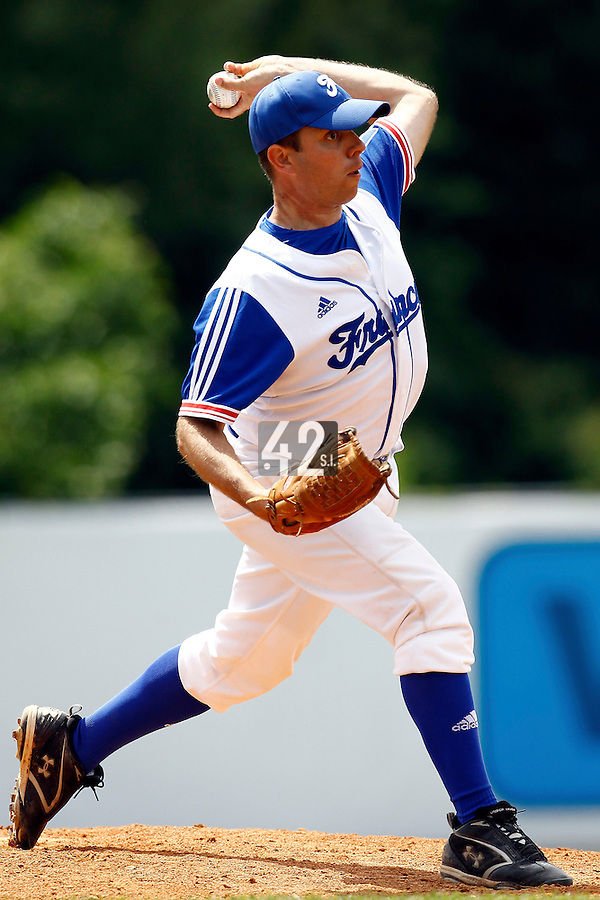 23 June 2011: Jerome Debrais of Team France pitches against USSSA during USSSA 5-3 win over France, at the 2011 Prague Baseball Week, in Prague, Czech Republic.