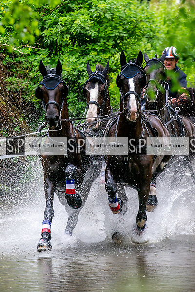 Day 4. Royal Windsor Horse Show. Windsor. Berkshire. UK.CAIO-CAI-Driving Marathon. Horse Four in Hand. Sebastien Vincent. FRA.  12/05/2018. ~ MANDATORY Credit Elli Birch/Sportinpictures - NO UNAUTHORISED USE - 07837 394578